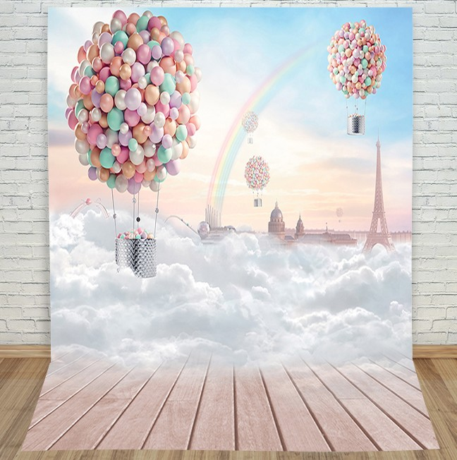 Hot Air Balloon Cloud Floor Photography Backgrounds  High-grade Vinyl cloth Computer printed christmas backdrop<br><br>Aliexpress