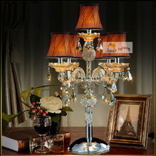 5 arms Led candelabra crystal desk Lamp for bar Kitchen antique glass table lamp with lampshade large bedroom hall table light(China)