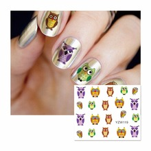 ZKO 1 Sheet Nail Water Sticker Cute Colorful Owl Designs Nail Art Beauty Water Stickers Nails Decoration Decals Tools 119(China)