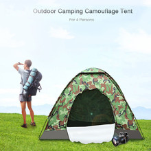 Outdoor Tent 4 Person 200*200cm Large Camping Tent One Layer Camouflage Tourist Tent for Fishing Hiking Camping