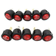 New 10pcs RED LED Dot Light Car Boat Round Rocker ON/OFF SPST 3 Pins Toggle Button Switch 220V MAX 250V DIY Accessories Hot Sale
