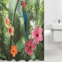 2016 High Quality Parrot Shower Curtain 180 x 200cm Bath Curtain Bathroom Curtains Cortina Bathroom Products Beautiful Cover