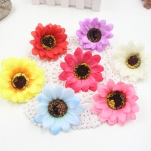 10pcs Large Silk Sunflower Artificial Flower Head For Wedding Car Decoration DIY Garland Decorative Floristry Fake Flowers(China)