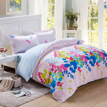 Cotton bed sheet sets fresh floral,100% cotton queen size bedskirt type bed sheet set,200x230queen size bed skirt type sheet set