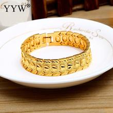 Big Luxury Men's Bracelet & Bangle Gold-Color Jewelry Wristband 16mm Chunky Big Chain Bracelets Bangles Fathers' Day Gifts
