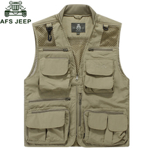 Afs Jeep 2017 Size M-8XL Summer Vest Men Casual Mesh Waistcoat Loose Multi-pockets Collarless Mens Working Photography Vest Male