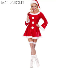 MOONIGHT Sexy Adult Women Christmas Costume,Sweetheart Miss Santa Dress One Size