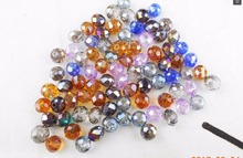 Mixed color Quality 6MM 100piece/lot Candy Color Round Faceted Glass String Beads Crystal Rondelles(China)