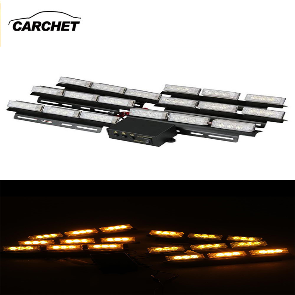 CARCHET 54 LED Yellow Strobe Warning Flash Lights Set Dash Deck Emergency Flashing Light 3 Model 12V 5W Outdoor FREE SHIPPING <br>