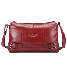 Women Messenger Bag Genuine Leather Delicacy Wine Red Casual Hasp Handbag Shoulder Bag Designer Graceful Ladies Crossbody Bags