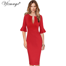 Vfemage Womens Sexy Deep V-Neck Flare Bell Sleeve Elegant Work Business Formal Party Cocktail Bodycon Vestido Sheath Dress 10021(China)