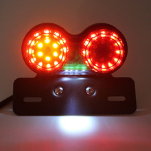 New Motorcycle 12V LED Twin Dual License Plate Tail Brake Turn Signal Integrated Light for Buggy Custom Chopper Dirt Bike ATV(China)