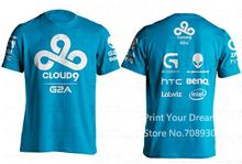 Summer Style T-shirt Men Dota2 C9 Men T Shirt Cloud9 Tees Game Team Printed Tees Gaming Jersey camiseta(China)