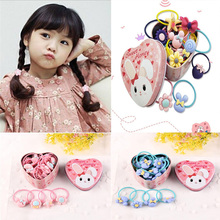 20Pcs/Lot Women Hairband Bow Hair Xmas Gift Tin Box Set Flower Cartoon Headband Children Elastic Bands Girl Hair Accessories(China)