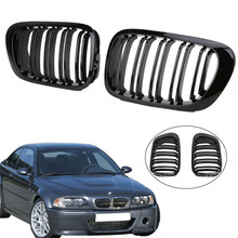 2x Glossy Black Front Kidney Grill Grille Double Line for BMW E46 2-Door 3 Series 1998-2001 Coupe M3 Car styling //