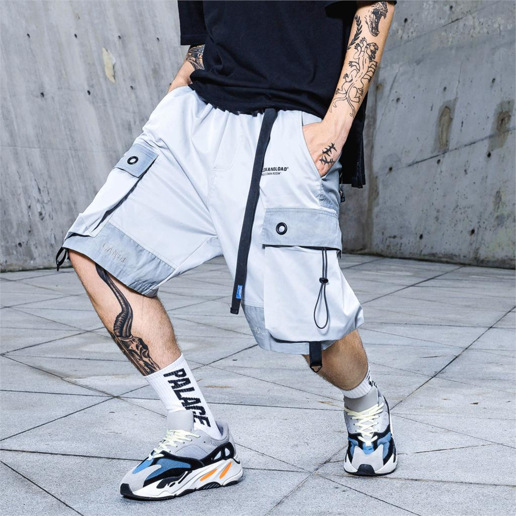 2019 Color Patchwork Summer Casual 3M Reflective Cargo Casual Shorts Men Knee Length Streetwear Hip Hop Shorts Man Joggers