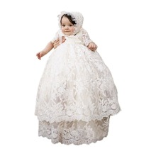 Long Ivory Christening Gown for Baby Girls Lace Baptism Dress with Bonnet 18M(China)