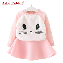 AiLe Rabbit Winter Girls Dress 2016 Brand Princess Dresses Girls Clothes Long Sleeve Cartoon Embroidery Design for Party Dress