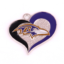 10pcs/lot rhodium plated enimal single-sided Baltimore Ravens Football team logo swirl heart charm(China)