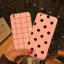 Mr.Orange Case For iPhone 6 Fashion Cute Girl Pink Wave Square TPU Mobile Phone Bag Cover For iPhone 6 6S Plus / 7 7Plus