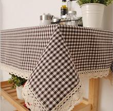 Liner Cotton Tablecloths For Square Tables Dust Anti Vintage Table Linen Cover Plaid Table Cloth White Lace