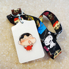 New Arrival 1pcs Cartoon Shin Chan Staff ID Card Case Holder Lanyards ID Work Badge Holder with Printed Neck Lanyard