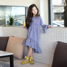 2017 Autumn Girls Korean Trendy Long Dress Navy Blue Checked Plaid Clothes for School Teens Age 5678910 11 12 13 14 Years Old(China)
