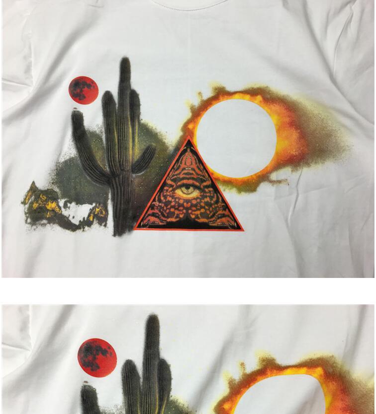 New High 2017 Men Cactus Triangle Eye Moon T Shirts T-Shirt Hip Hop Skateboard Street Cotton T-Shirts Tee Top kenye #B17