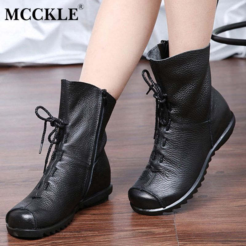 MCCKLE 2017 Women Casual Round Head Ankle Boots Female Solid Zip Flat Vintage Brand Designer Ladies Leisure Comfortable Shoes<br>