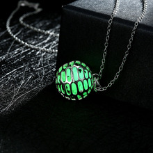 Silver Plated Fairy Locket Glow in the Dark luminous Stone Sporty Soccer Pendant Necklace for Party Women Jewelry