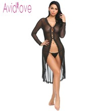 Buy Avidlove Long Sleeve Floral Lace Robe Women Lingerie Sexy Hot Erotic Sex Costumes Kimono Bathrobe Dressing Gown Sleepwear