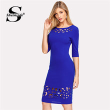 Buy Sheinside Hollow Pencil Dress Women Royad Blue Round Neck Long Sleeve Elegant Dress 2018 Summer Party Dress for $10.98 in AliExpress store
