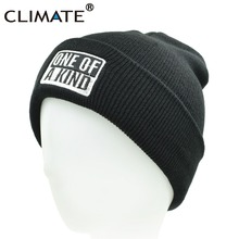 CLIMATE Men Winter Warm Knitted Hat Beanies One Of A Kind Cool Black Popular New Knitted Winter Hat CapsFor Adult Men Women(China)