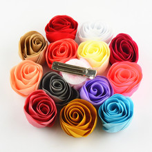 50pcs/lot 1.55 Inch Stain Rosettes Flowers With Barrette Hair Clips girl Baptism Gift Free Shipping Choose Color FC106