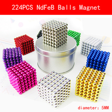 224 pcs NdFeB Magnet Balls 5mm diameter Strong Neodymium Sphere D5 ball Permanent Magnets Rare Earth Magnets with Gift Box Bag(China)