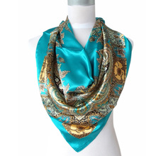 2017 Hot Sale Satin Square Silk Scarf Printed For Ladies,New Arrival Women Brand Polyester Scarves, Blue, Army Green,Yellow,Red