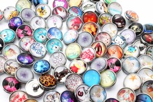 10pcs /lot Random mixing delivery thousands of style 18mm glass snap button for women's DIY jewelry love charm braclet