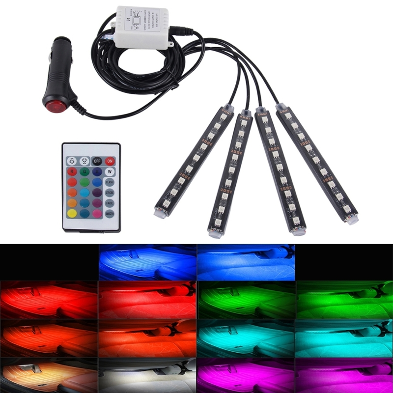 Roof light 4 in 1 4.5W 36 SMD 5050LEDs Car Interior Floor Decoration Atmosphere Colorful Light Lamp Wireless Remote Control<br><br>Aliexpress