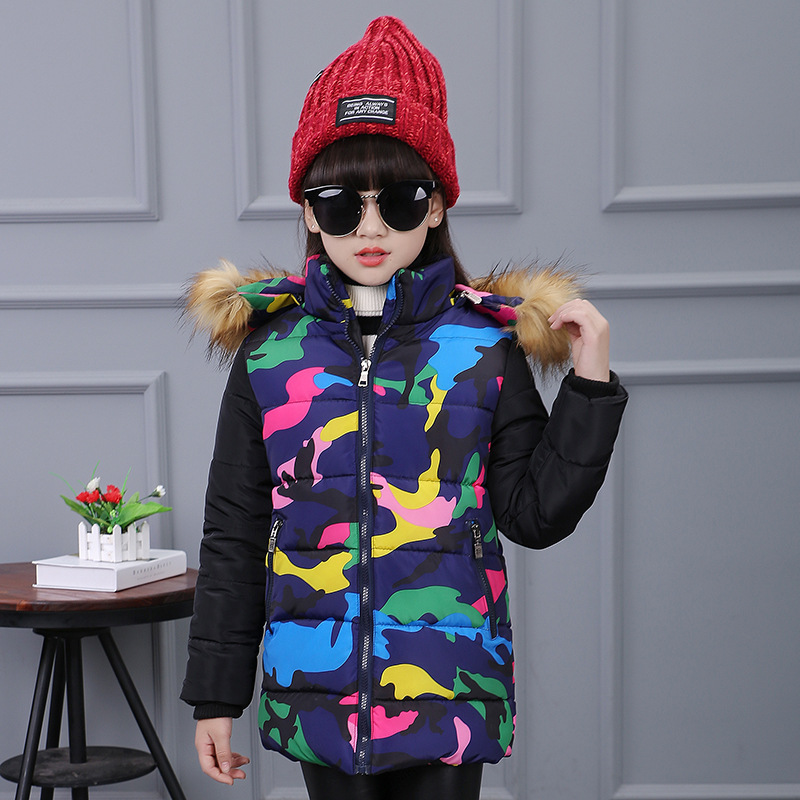 Girls Winter Jackets 4 5 6 7 8 9 10 11 12 Years Camouflage Girl Parka Long Sleeve Hooded Coat For Girls Teens Teenage JacketОдежда и ак�е��уары<br><br><br>Aliexpress