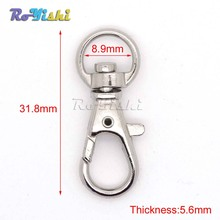 100pcs/pack Matel Snap Hooks Rotary Swivel For Backpack Webbing 8.9mm Nickel Plated Lobster Clasps