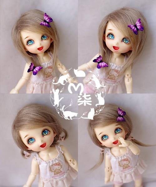 "3-4/"" 9-10cm BJD fabric fur wig Soft Pink hair for AE PukiFee lati 1//12 Doll"