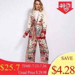 Женский винтажный костюм из пиджака и широких брюк на резинке