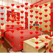 16pcs/set 5*5cm Heart Curtain Ornaments Charm With 2.5m Rope Felt Non-woven Banner For Home Wedding Party Valentine Decoration