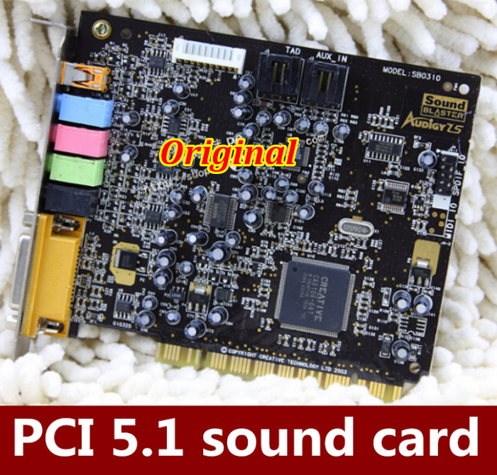 Free HK post  1PCS   Innovation 5.1 AUDIGY LS SB0310  Independent sound card machine suitable PCI sound card  Support XP, Win7/8<br>