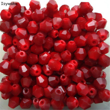 Isywaka Sale Shining Red 100pcs 4mm Bicone Austria Crystal Beads charm Glass Beads Loose Spacer Bead for DIY Jewelry Making