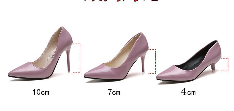 2018 Femmes Chaussures Bout Pointu Pompes En Cuir Verni Chaussures Habillées Talons hauts 41