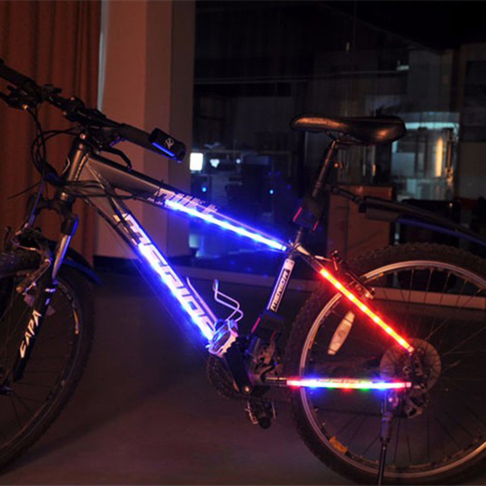 14 LED Bicycle Decorative LED Light Cycling Safety Spoke Light Bike Warning Lamp Tube Light 3 modes Colorful Warning Bike Light
