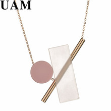 UAM 2017 Pink Round Square Resin Silver Gold Color Pendant Necklaces Unique Design Copper Collier Women Party Fashion Jewelry(China)
