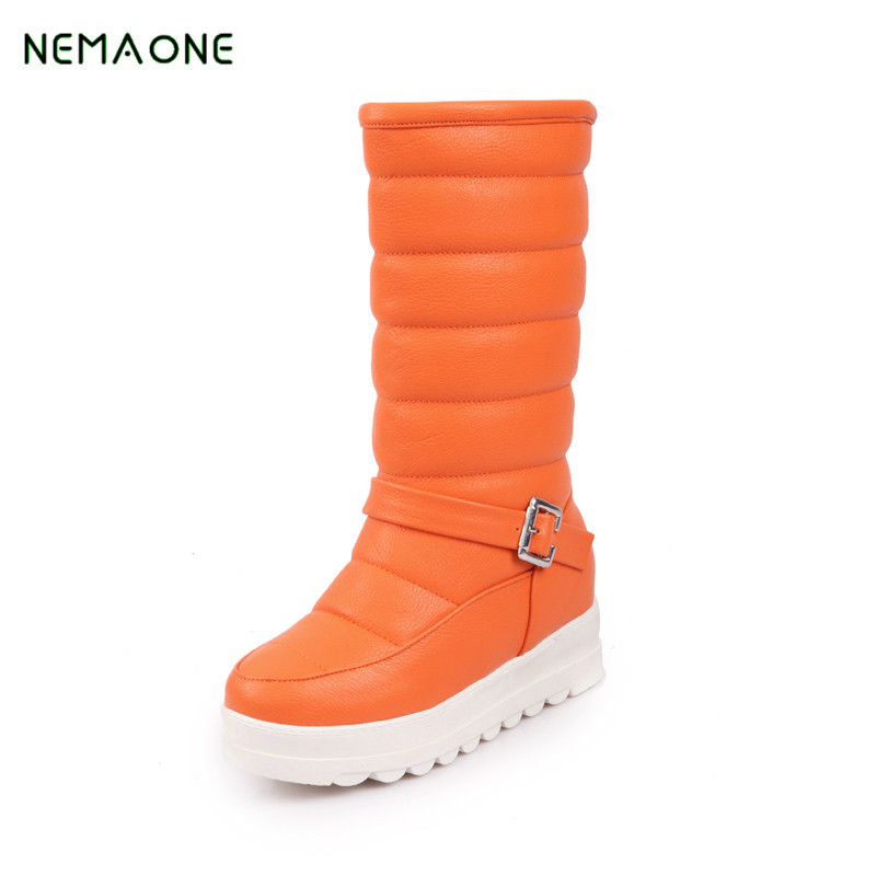 NEMAONE 2017 New Winter Warm Hot Sale Boots Womens Flat Lace Up Fur Lined Knee High Snow Boots Ladies Shoes Plus Size<br>