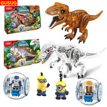 GUSUG 6pcs/lot 77011 NO ORIGINAL BOX Minions Jurassic Dinosaur world Figures Tyrannosaurs Rex Building Blocks baby Toys(China)